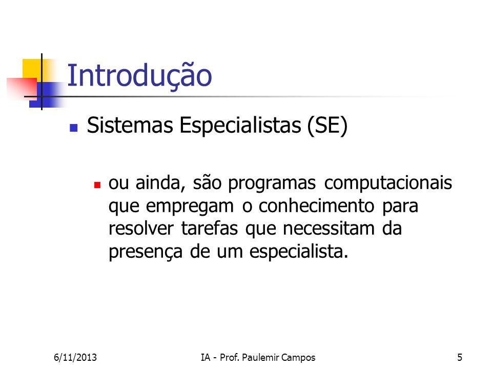 6/11/2013IA - Prof. Paulemir Campos5 Introdução Sistemas Especialistas (SE) ou ainda, são programas computacionais que empregam o conhecimento para re