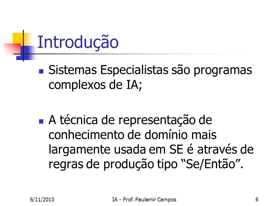 6/11/2013IA - Prof. Paulemir Campos6 Introdução Sistemas Especialistas são programas complexos de IA; A técnica de representação de conhecimento de do