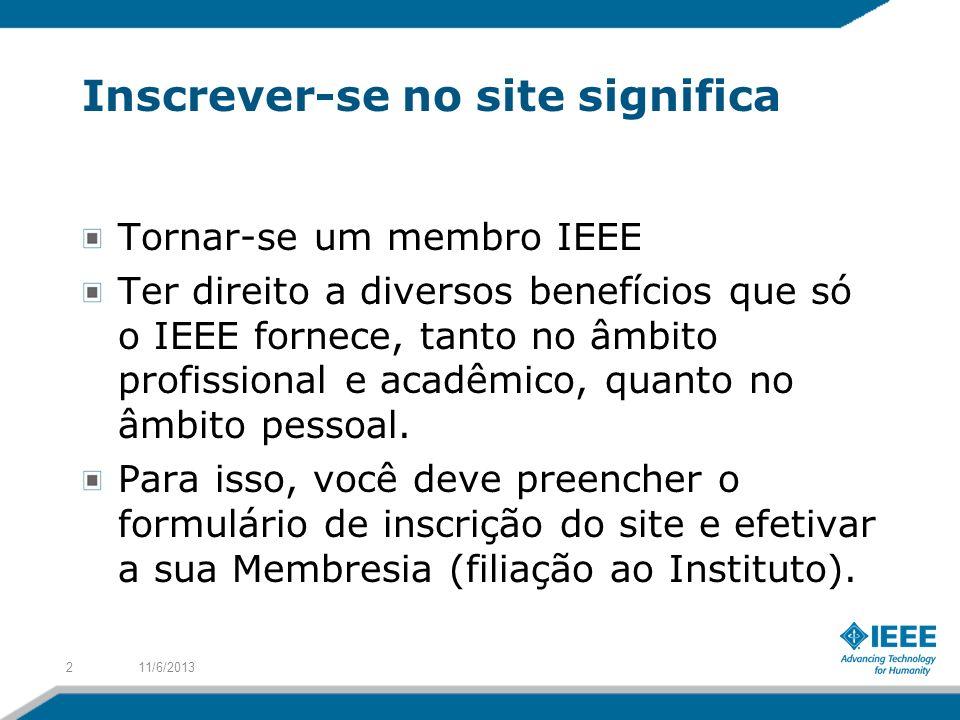Inscrever-se no site significa Tornar-se um membro IEEE Ter direito a diversos benefícios que só o IEEE fornece, tanto no âmbito profissional e acadêm