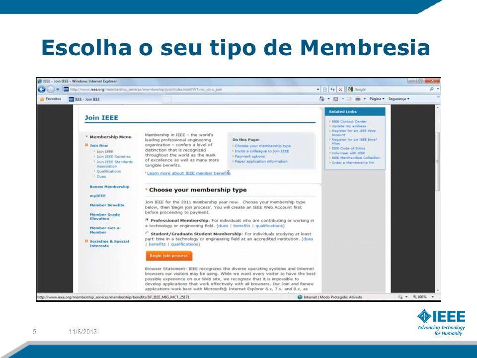 Escolha o seu tipo de Membresia 11/6/20135