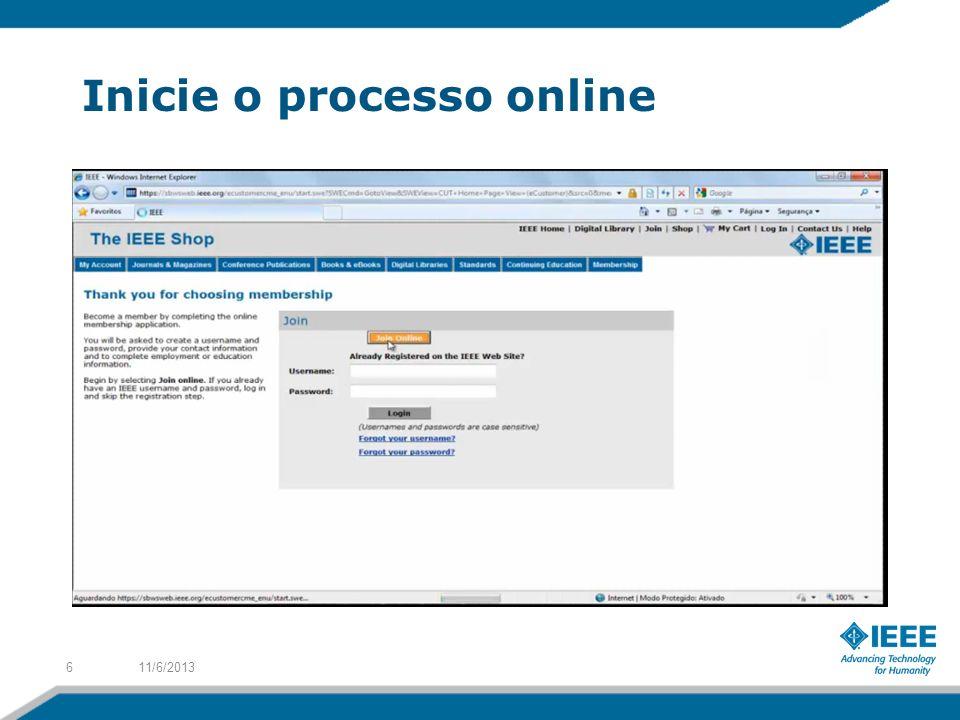 Inicie o processo online 11/6/20136