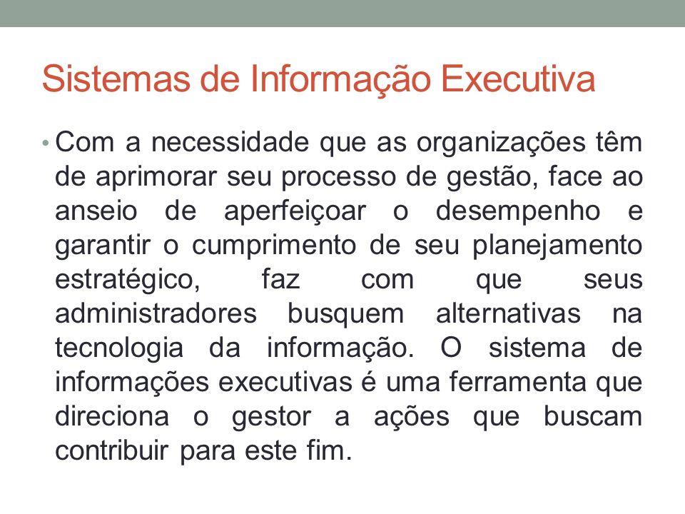 Sistemas de Informação Executiva Com a necessidade que as organizações têm de aprimorar seu processo de gestão, face ao anseio de aperfeiçoar o desemp