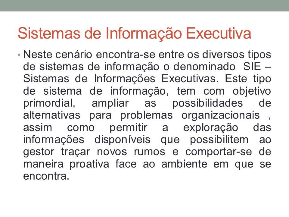 Sistemas de Informação Executiva Neste cenário encontra-se entre os diversos tipos de sistemas de informação o denominado SIE – Sistemas de Informaçõe