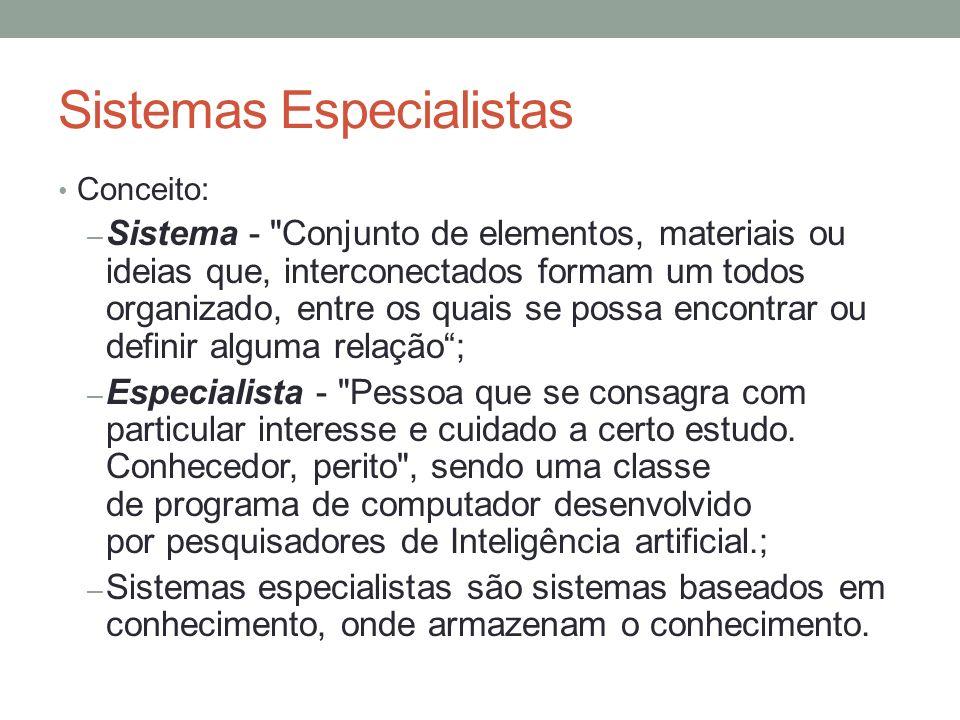 Sistemas Especialistas Conceito: – Sistema -
