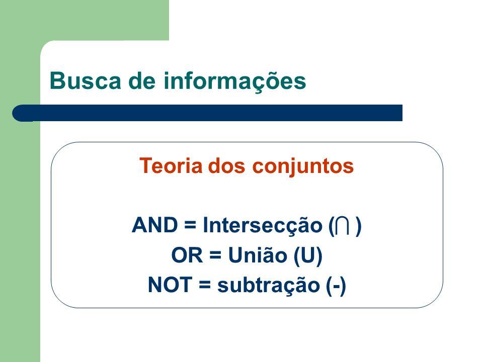 Teoria dos conjuntos AND = Intersecção ( ) OR = União (U) NOT = subtração (-) Busca de informações