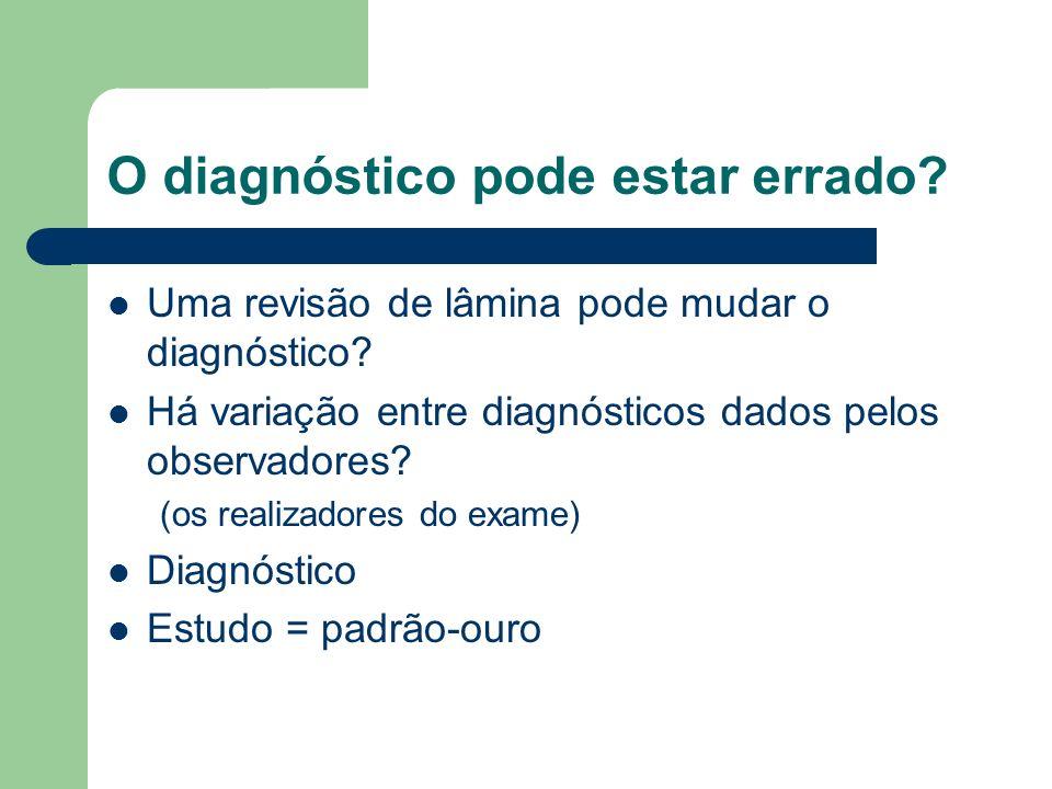 O diagnóstico pode estar errado? Uma revisão de lâmina pode mudar o diagnóstico? Há variação entre diagnósticos dados pelos observadores? (os realizad