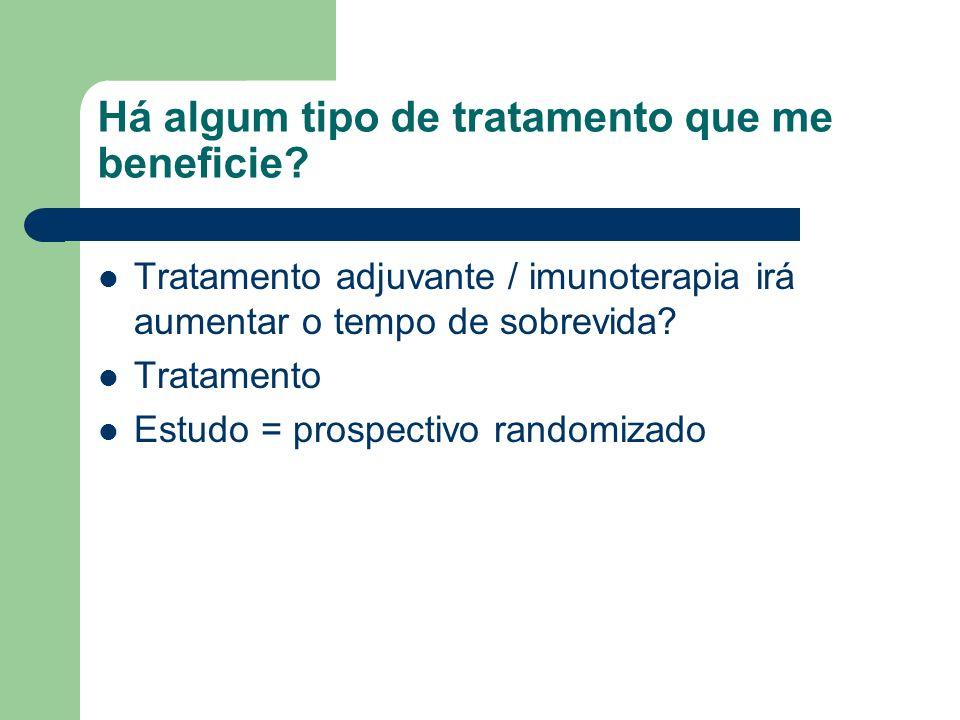 Há algum tipo de tratamento que me beneficie? Tratamento adjuvante / imunoterapia irá aumentar o tempo de sobrevida? Tratamento Estudo = prospectivo r