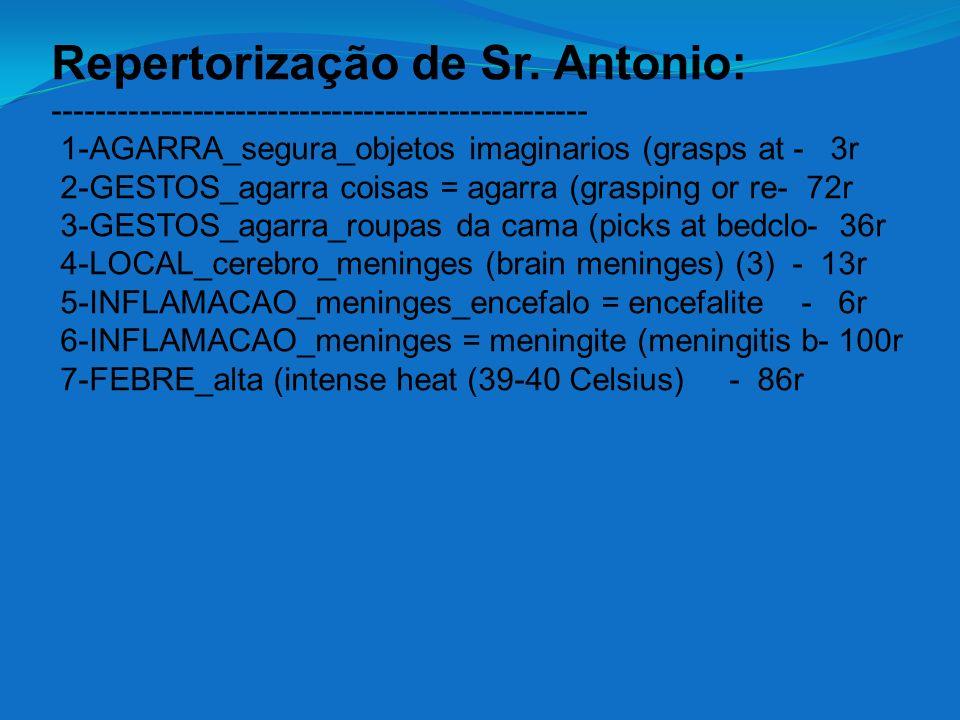 Repertorização de Sr. Antonio: -------------------------------------------------- 1-AGARRA_segura_objetos imaginarios (grasps at - 3r 2-GESTOS_agarra