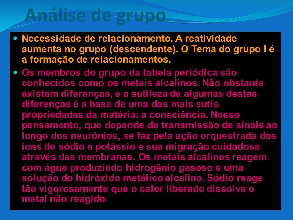 Análise de grupo Necessidade de relacionamento. A reatividade aumenta no grupo (descendente). O Tema do grupo I é a formação de relacionamentos. Os me