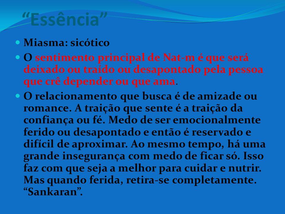 Essência Miasma: sicótico O sentimento principal de Nat-m é que será deixado ou traído ou desapontado pela pessoa que crê depender ou que ama. O relac