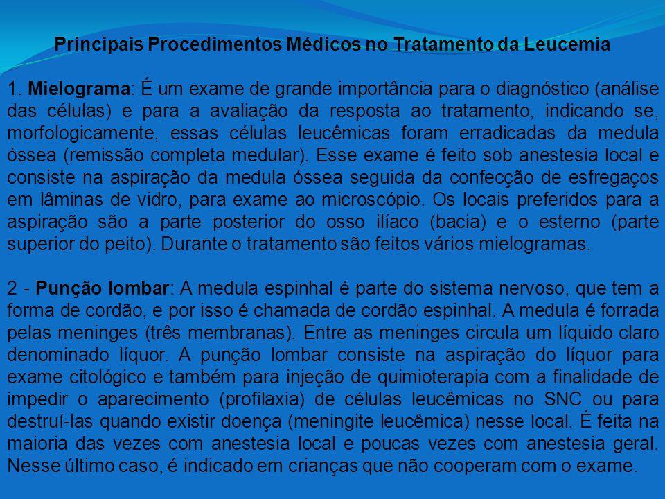 Principais Procedimentos Médicos no Tratamento da Leucemia 1. Mielograma: É um exame de grande importância para o diagnóstico (análise das células) e