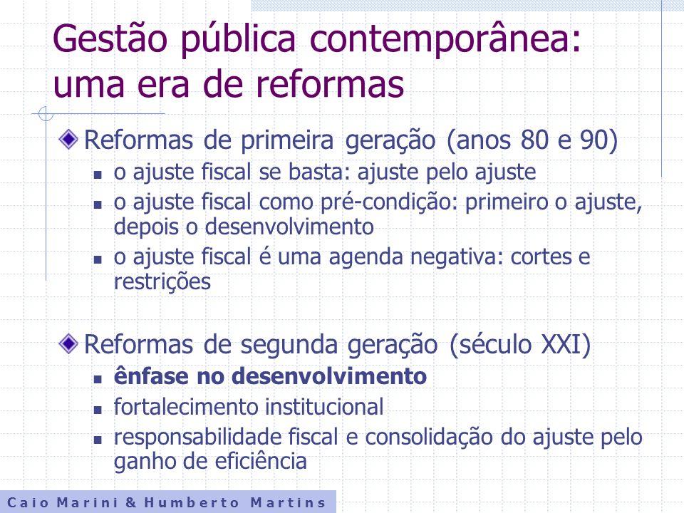 Gestão pública contemporânea: uma era de reformas Reformas de primeira geração (anos 80 e 90) o ajuste fiscal se basta: ajuste pelo ajuste o ajuste fi