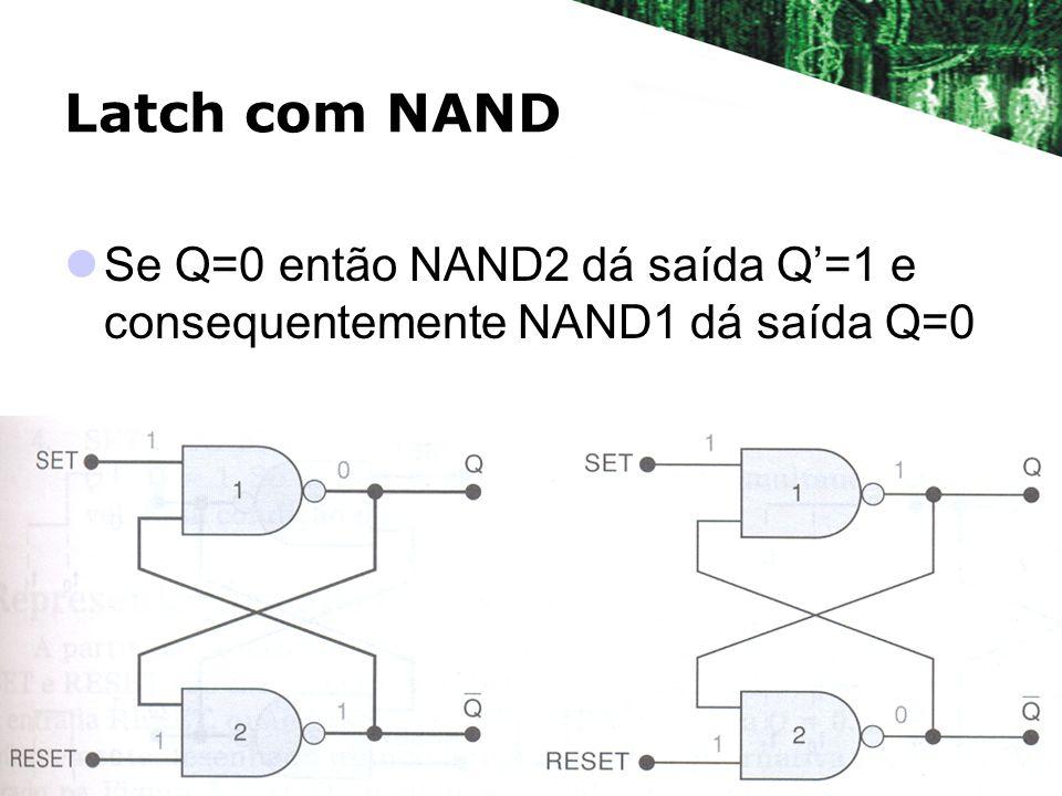 Latch com NAND Se Q=0 então NAND2 dá saída Q=1 e consequentemente NAND1 dá saída Q=0
