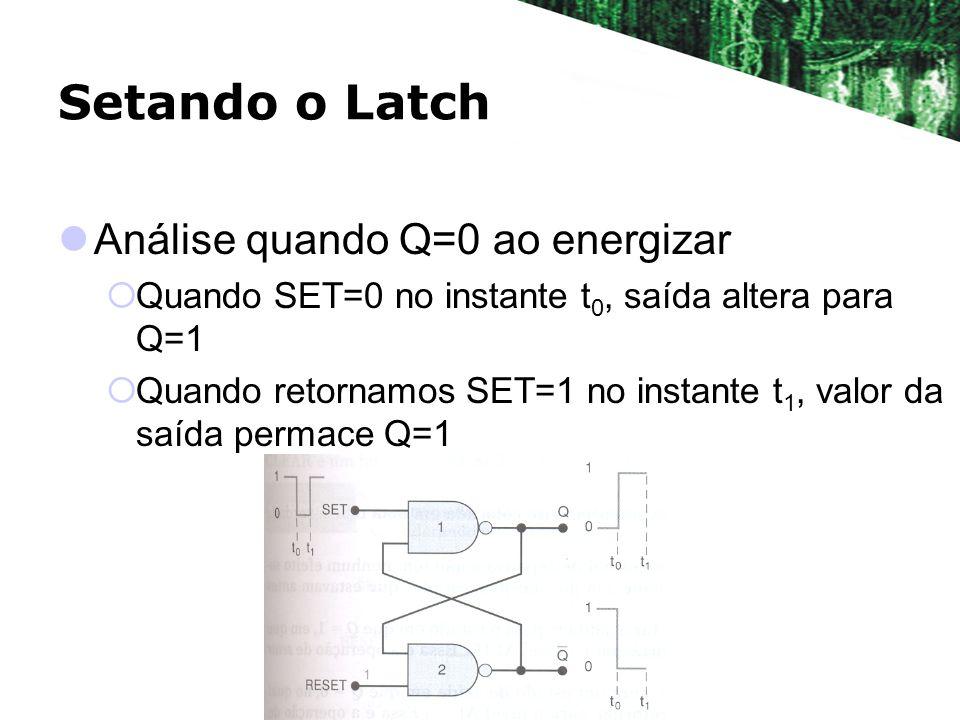 Setando o Latch Análise quando Q=0 ao energizar Quando SET=0 no instante t 0, saída altera para Q=1 Quando retornamos SET=1 no instante t 1, valor da
