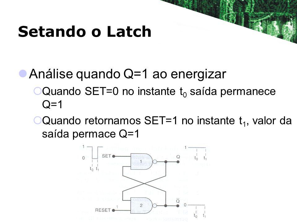 Setando o Latch Análise quando Q=1 ao energizar Quando SET=0 no instante t 0 saída permanece Q=1 Quando retornamos SET=1 no instante t 1, valor da saí