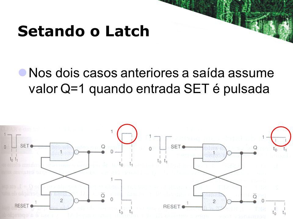 Setando o Latch Nos dois casos anteriores a saída assume valor Q=1 quando entrada SET é pulsada