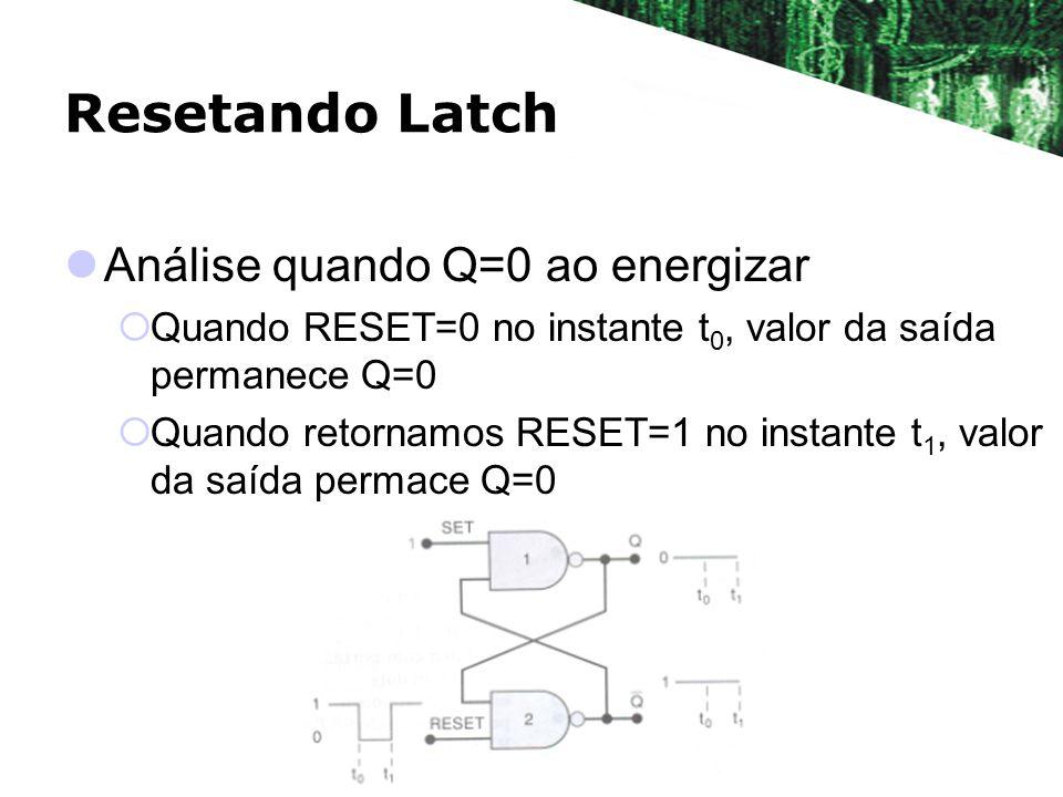 Resetando Latch Análise quando Q=0 ao energizar Quando RESET=0 no instante t 0, valor da saída permanece Q=0 Quando retornamos RESET=1 no instante t 1