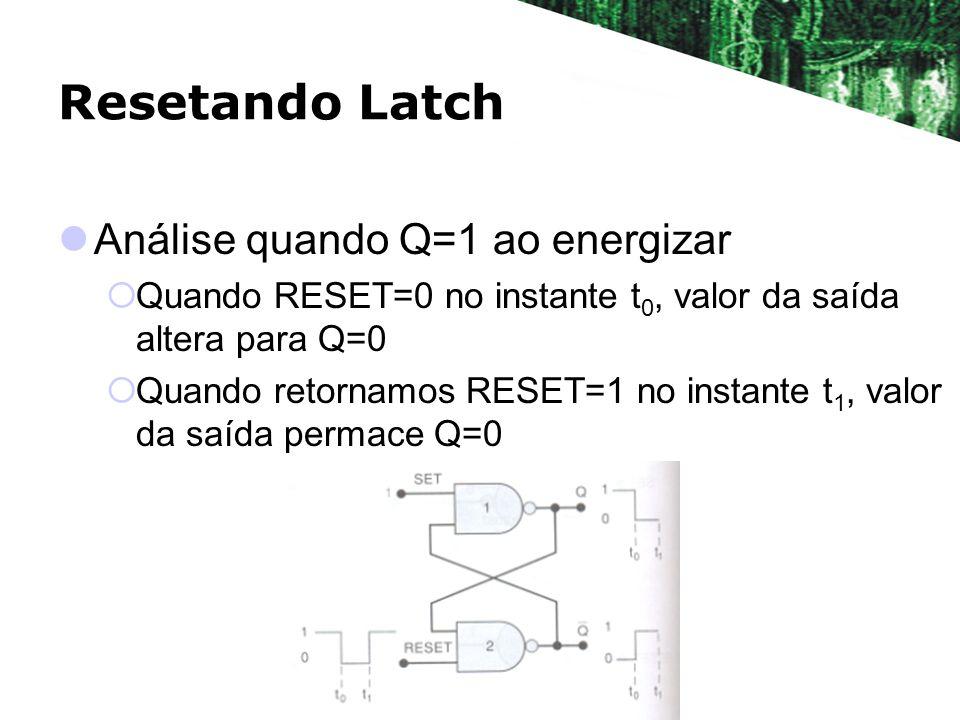 Resetando Latch Análise quando Q=1 ao energizar Quando RESET=0 no instante t 0, valor da saída altera para Q=0 Quando retornamos RESET=1 no instante t