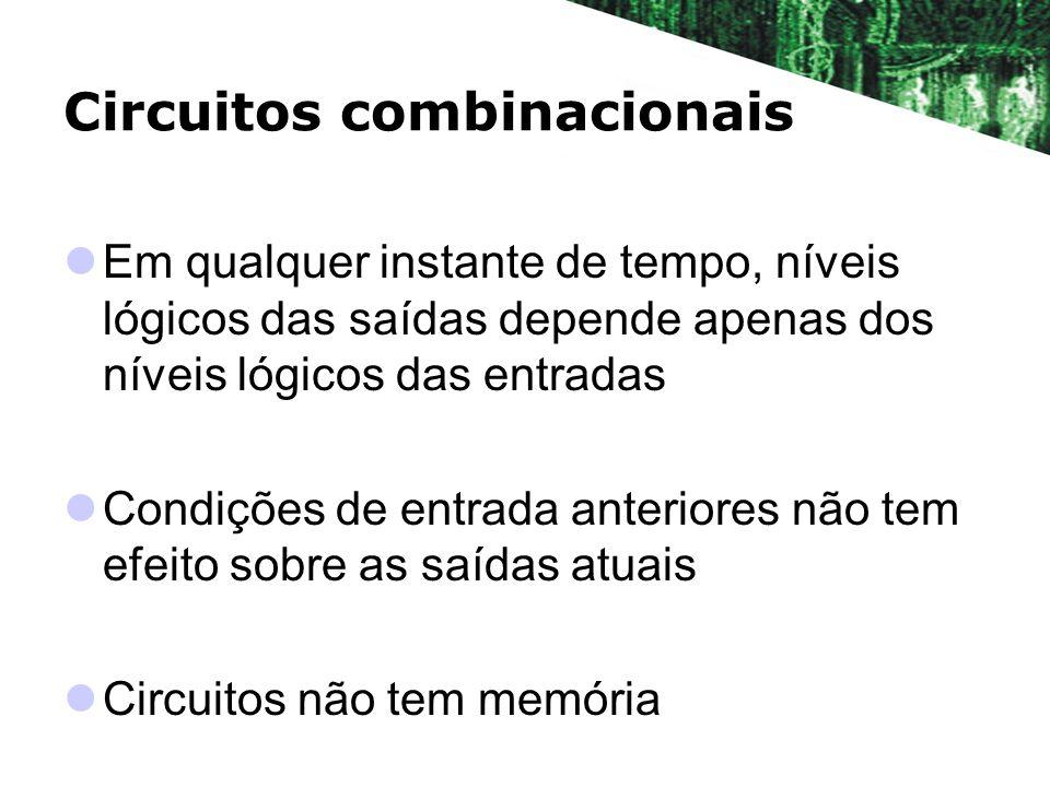 Circuitos combinacionais Em qualquer instante de tempo, níveis lógicos das saídas depende apenas dos níveis lógicos das entradas Condições de entrada