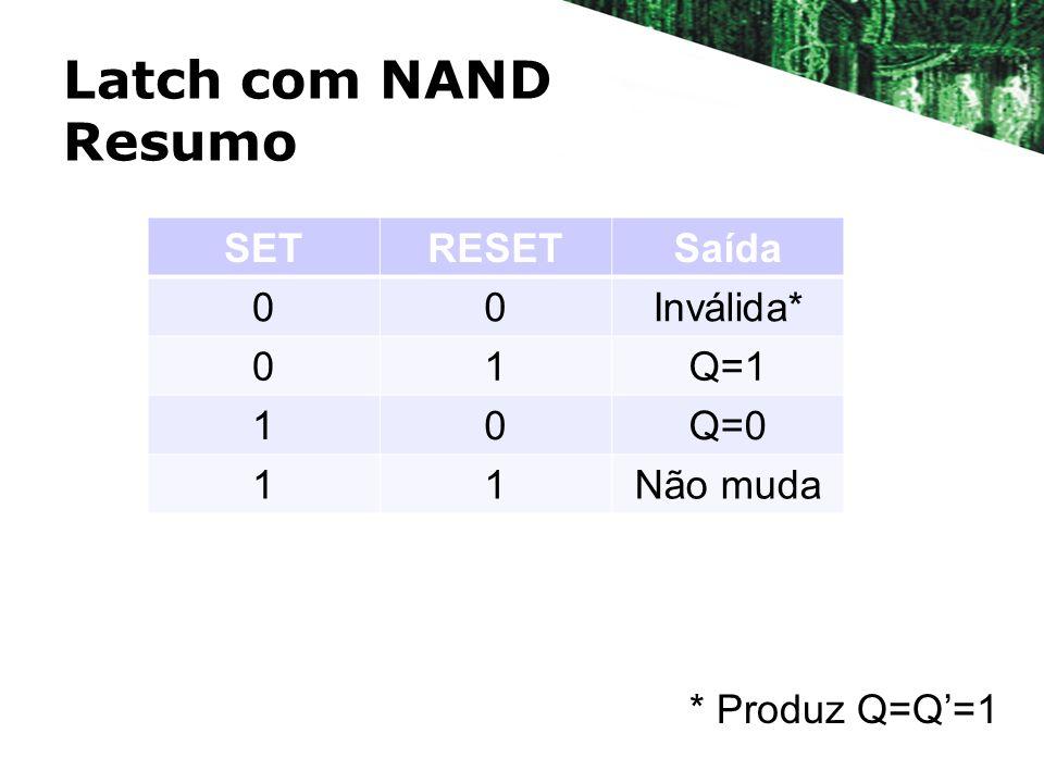 Latch com NAND Resumo SETRESETSaída 00Inválida* 01Q=1 10Q=0 11Não muda * Produz Q=Q=1