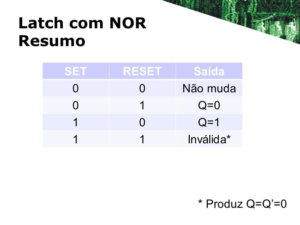 Latch com NOR Resumo SETRESETSaída 00Não muda 01Q=0 10Q=1 11Inválida* * Produz Q=Q=0