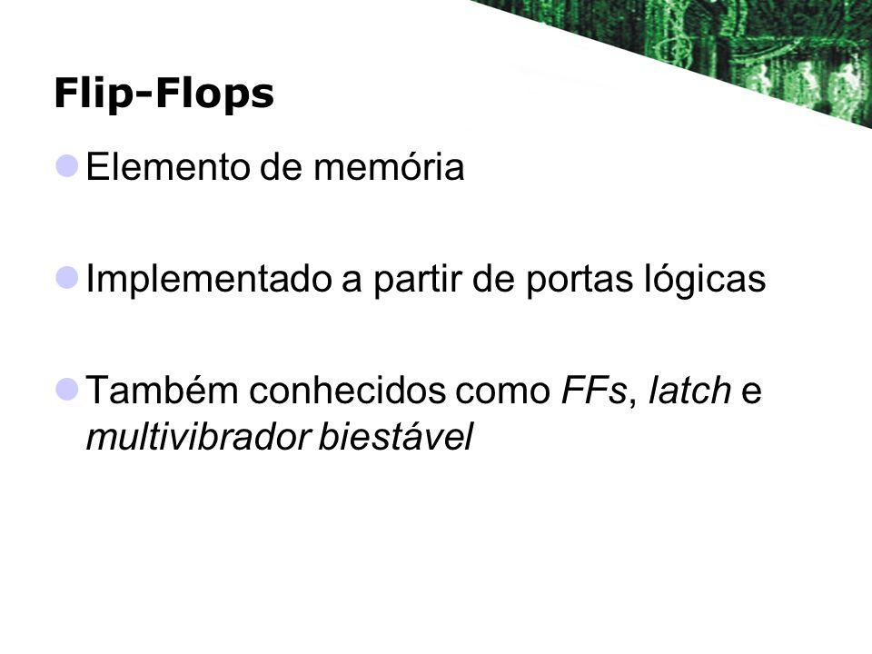 Flip-Flops Entradas de controle Nome depende do tipo de flip-flop em questão Saídas Q e Q Q é a saída normal do FF e Q a saída invertida Q representa o estado do FF Tipo SR Tipo JK Tipo D