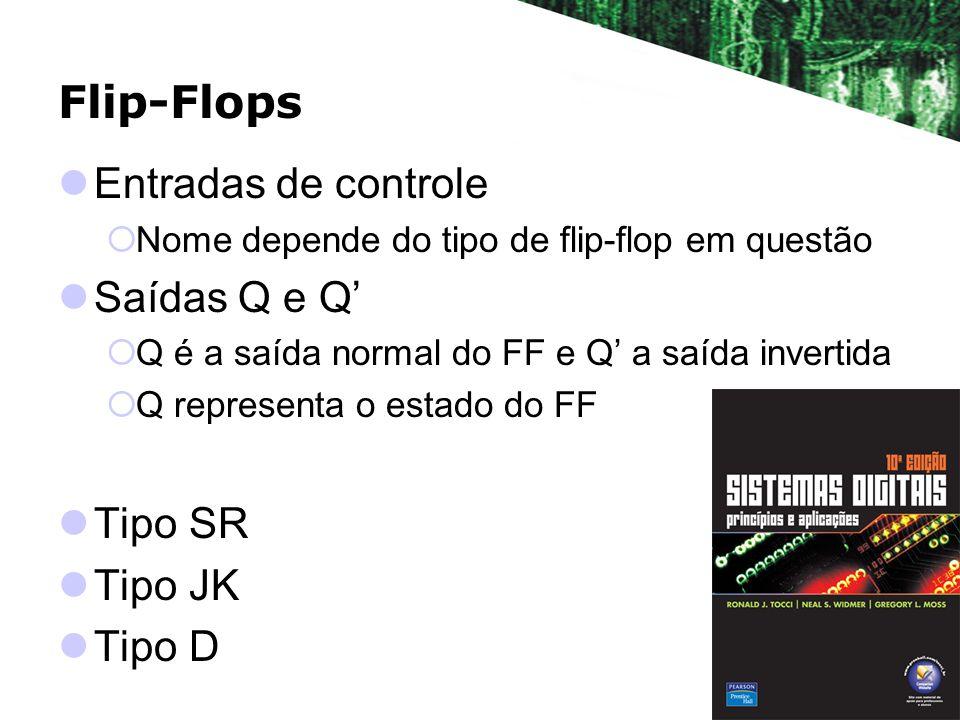 Flip-Flops Entradas de controle Nome depende do tipo de flip-flop em questão Saídas Q e Q Q é a saída normal do FF e Q a saída invertida Q representa