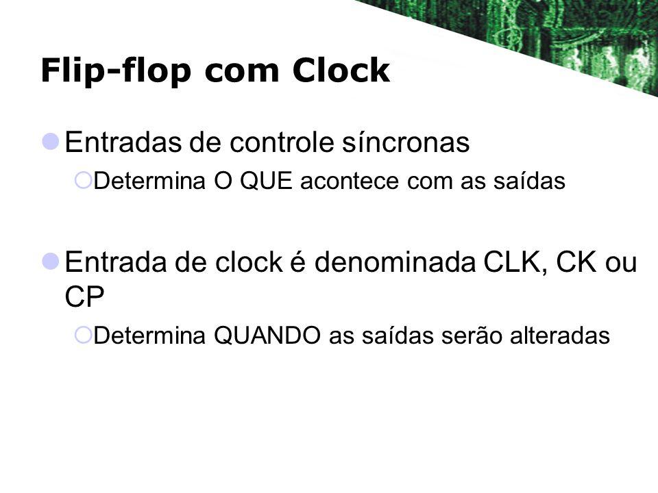 Flip-flop com Clock Entradas de controle síncronas Determina O QUE acontece com as saídas Entrada de clock é denominada CLK, CK ou CP Determina QUANDO