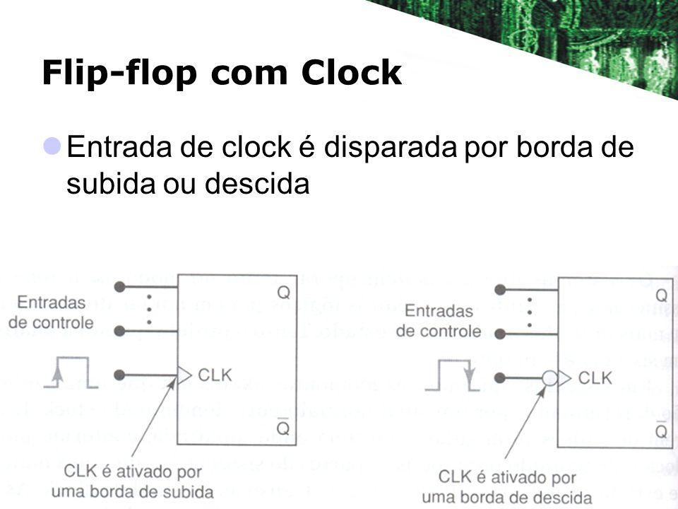 Flip-flop com Clock Entrada de clock é disparada por borda de subida ou descida