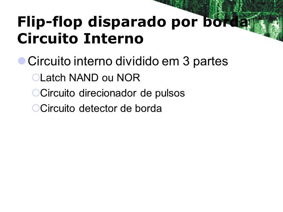 Flip-flop disparado por borda Circuito Interno Circuito interno dividido em 3 partes Latch NAND ou NOR Circuito direcionador de pulsos Circuito detect