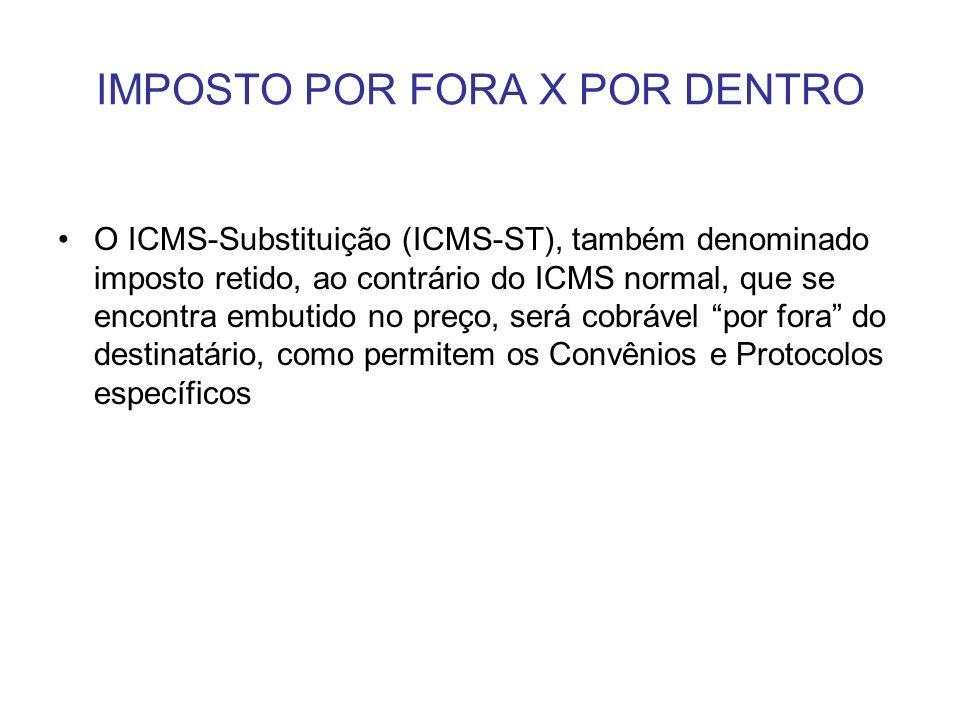 IMPOSTO POR FORA X POR DENTRO O ICMS-Substituição (ICMS-ST), também denominado imposto retido, ao contrário do ICMS normal, que se encontra embutido n