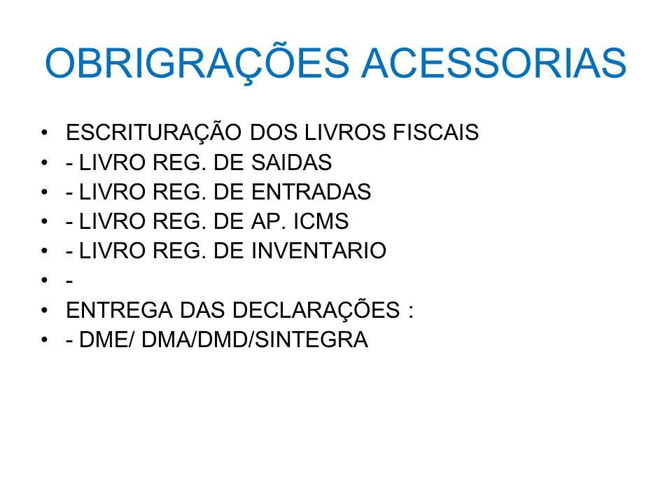 OBRIGRAÇÕES ACESSORIAS ESCRITURAÇÃO DOS LIVROS FISCAIS - LIVRO REG. DE SAIDAS - LIVRO REG. DE ENTRADAS - LIVRO REG. DE AP. ICMS - LIVRO REG. DE INVENT
