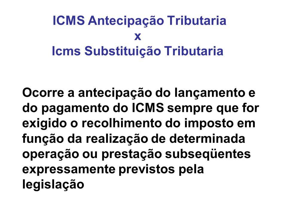 ICMS Antecipação Tributaria x Icms Substituição Tributaria Ocorre a antecipação do lançamento e do pagamento do ICMS sempre que for exigido o recolhim