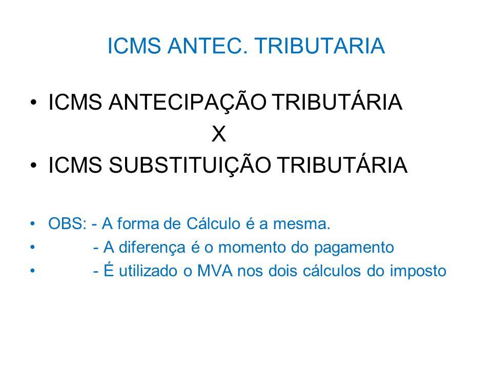 ICMS ANTEC. TRIBUTARIA ICMS ANTECIPAÇÃO TRIBUTÁRIA X ICMS SUBSTITUIÇÃO TRIBUTÁRIA OBS: - A forma de Cálculo é a mesma. - A diferença é o momento do pa