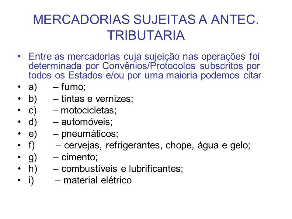 MERCADORIAS SUJEITAS A ANTEC. TRIBUTARIA Entre as mercadorias cuja sujeição nas operações foi determinada por Convênios/Protocolos subscritos por todo