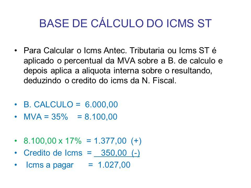 Para Calcular o Icms Antec. Tributaria ou Icms ST é aplicado o percentual da MVA sobre a B. de calculo e depois aplica a aliquota interna sobre o resu