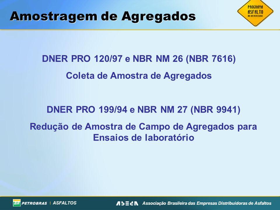ASFALTOS Associação Brasileira das Empresas Distribuidoras de Asfaltos DNER PRO 120/97 e NBR NM 26 (NBR 7616) Coleta de Amostra de Agregados DNER PRO
