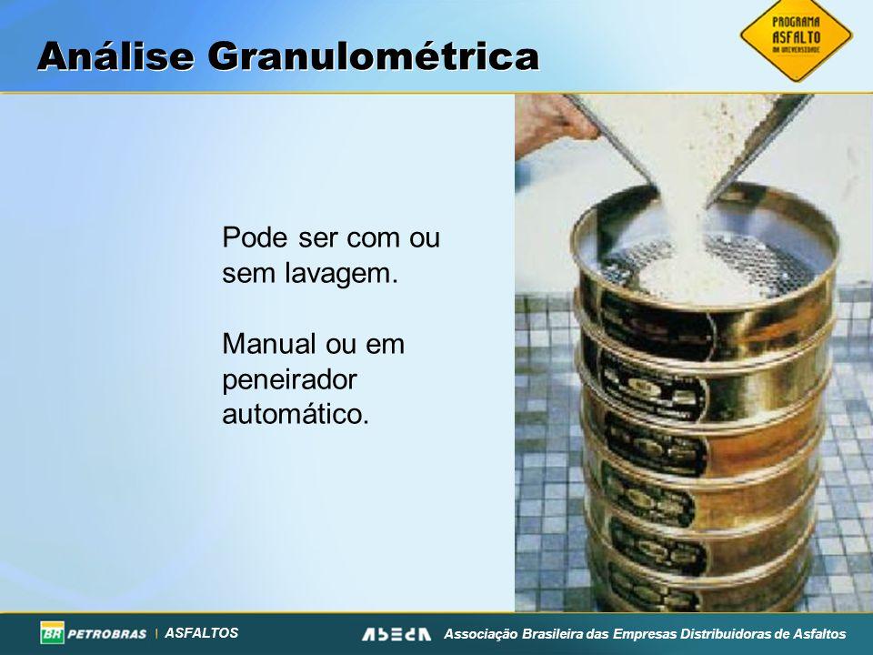ASFALTOS Associação Brasileira das Empresas Distribuidoras de Asfaltos Análise Granulométrica Pode ser com ou sem lavagem. Manual ou em peneirador aut
