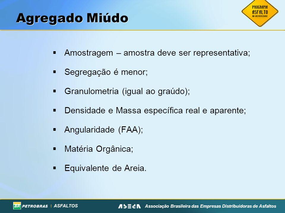 ASFALTOS Associação Brasileira das Empresas Distribuidoras de Asfaltos Agregado Miúdo Amostragem – amostra deve ser representativa; Segregação é menor
