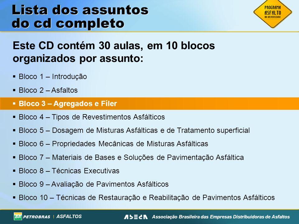 ASFALTOS Associação Brasileira das Empresas Distribuidoras de Asfaltos Lista dos assuntos do cd completo Bloco 1 – Introdução Bloco 2 – Asfaltos Bloco