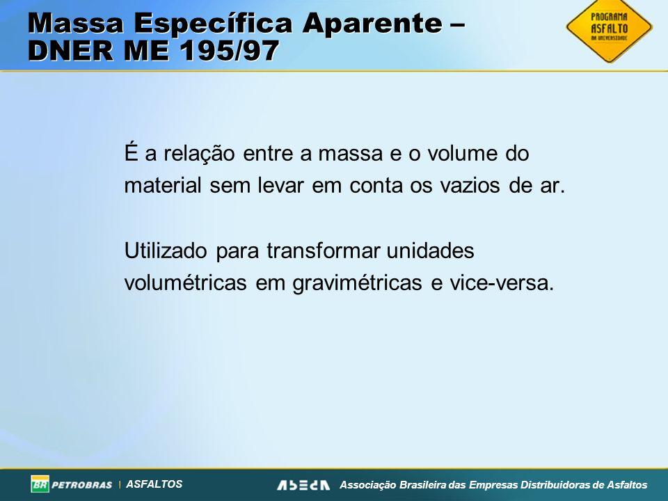 ASFALTOS Associação Brasileira das Empresas Distribuidoras de Asfaltos É a relação entre a massa e o volume do material sem levar em conta os vazios d