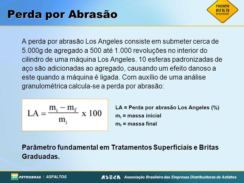 ASFALTOS Associação Brasileira das Empresas Distribuidoras de Asfaltos A perda por abrasão Los Angeles consiste em submeter cerca de 5.000g de agregad