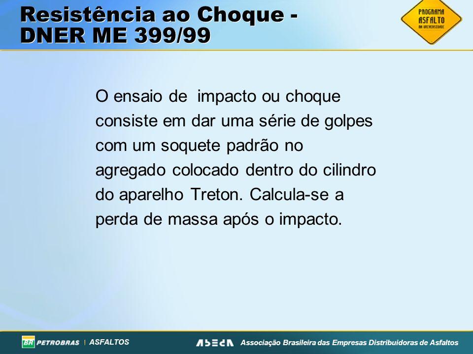 ASFALTOS Associação Brasileira das Empresas Distribuidoras de Asfaltos O ensaio de impacto ou choque consiste em dar uma série de golpes com um soquet