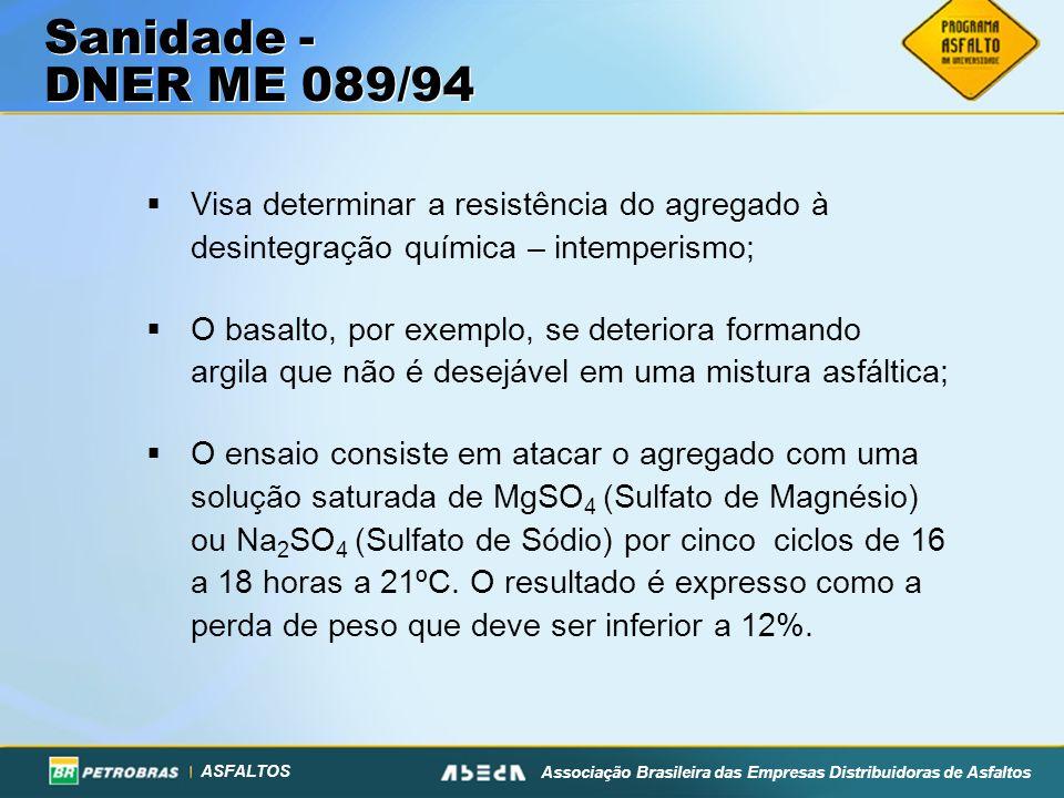ASFALTOS Associação Brasileira das Empresas Distribuidoras de Asfaltos Visa determinar a resistência do agregado à desintegração química – intemperism