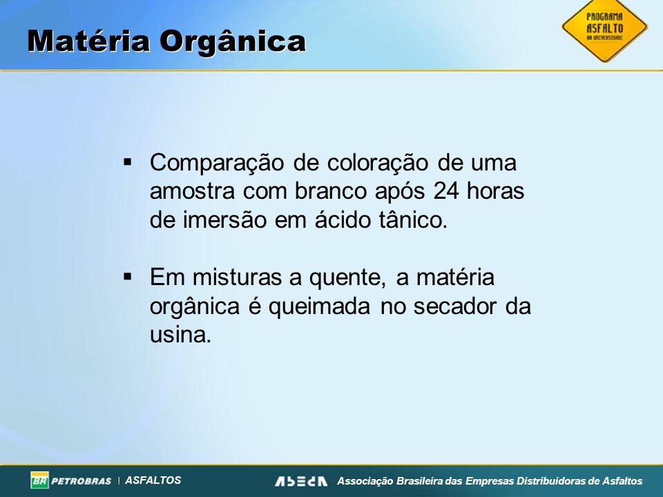 ASFALTOS Associação Brasileira das Empresas Distribuidoras de Asfaltos Matéria Orgânica Comparação de coloração de uma amostra com branco após 24 hora