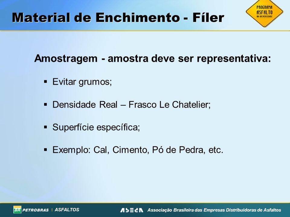 ASFALTOS Associação Brasileira das Empresas Distribuidoras de Asfaltos Material de Enchimento - Fíler Amostragem - amostra deve ser representativa: Ev