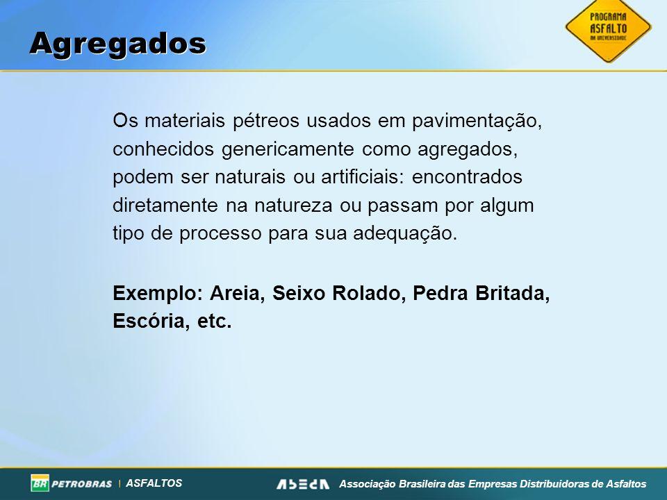 ASFALTOS Associação Brasileira das Empresas Distribuidoras de Asfaltos Os materiais pétreos usados em pavimentação, conhecidos genericamente como agre