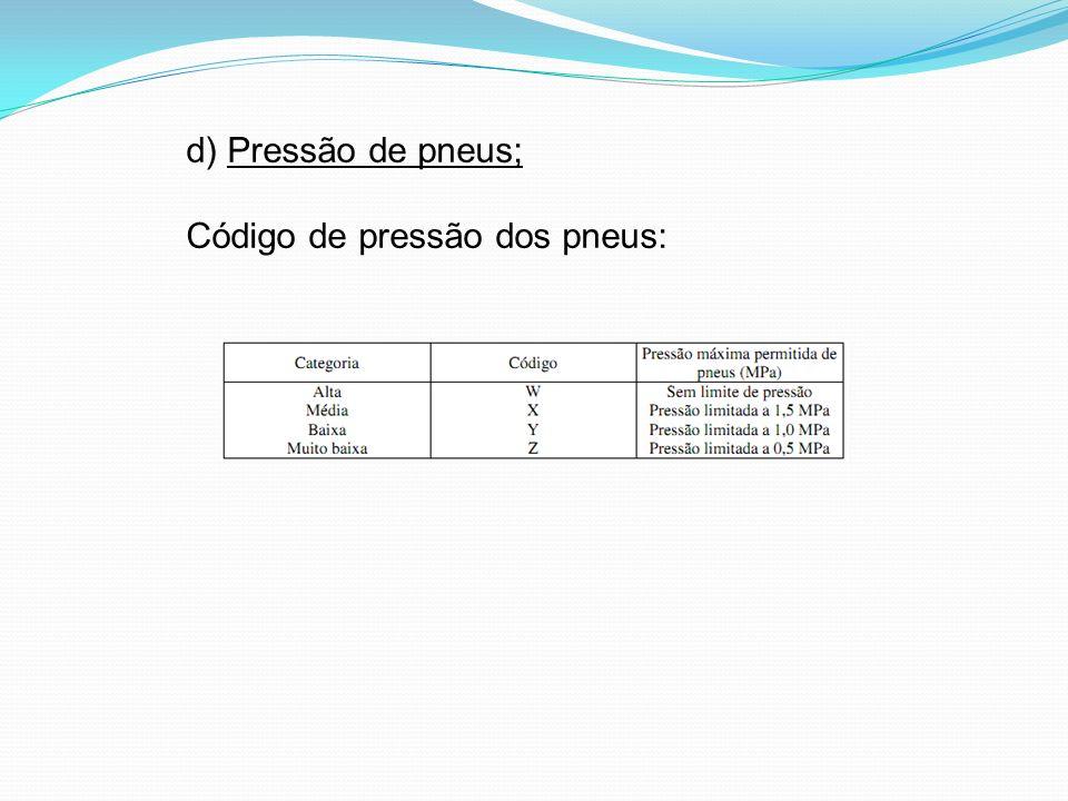 d) Pressão de pneus; Código de pressão dos pneus: