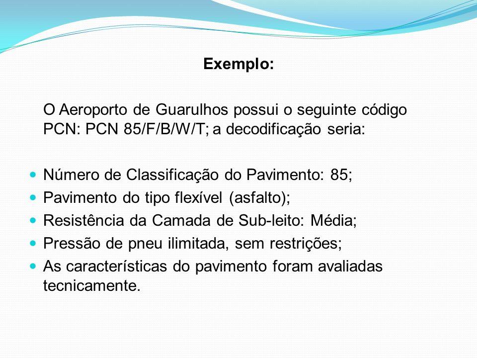 Exemplo: O Aeroporto de Guarulhos possui o seguinte código PCN: PCN 85/F/B/W/T; a decodificação seria: Número de Classificação do Pavimento: 85; Pavim