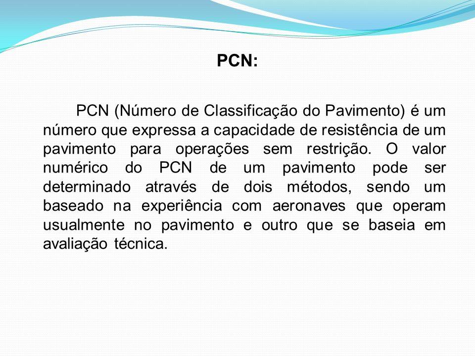 PCN: PCN (Número de Classificação do Pavimento) é um número que expressa a capacidade de resistência de um pavimento para operações sem restrição. O v